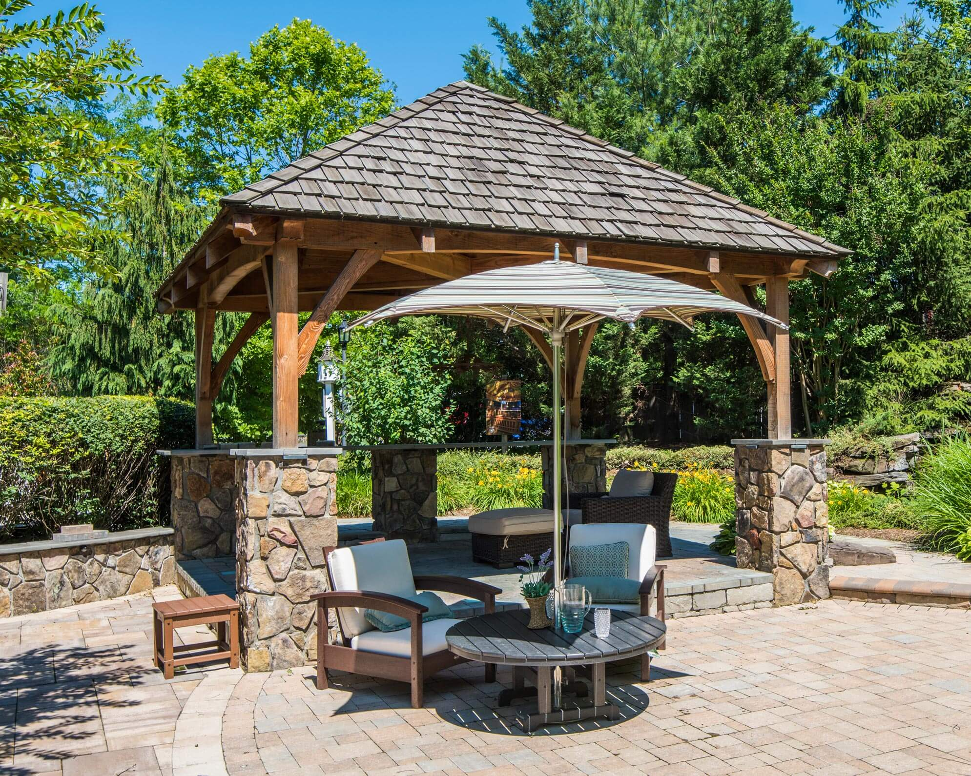 Douglas Fir Pergola  Kit_stone Veneer Columns_Trex Furniture_Hanover Patio_Tuuci